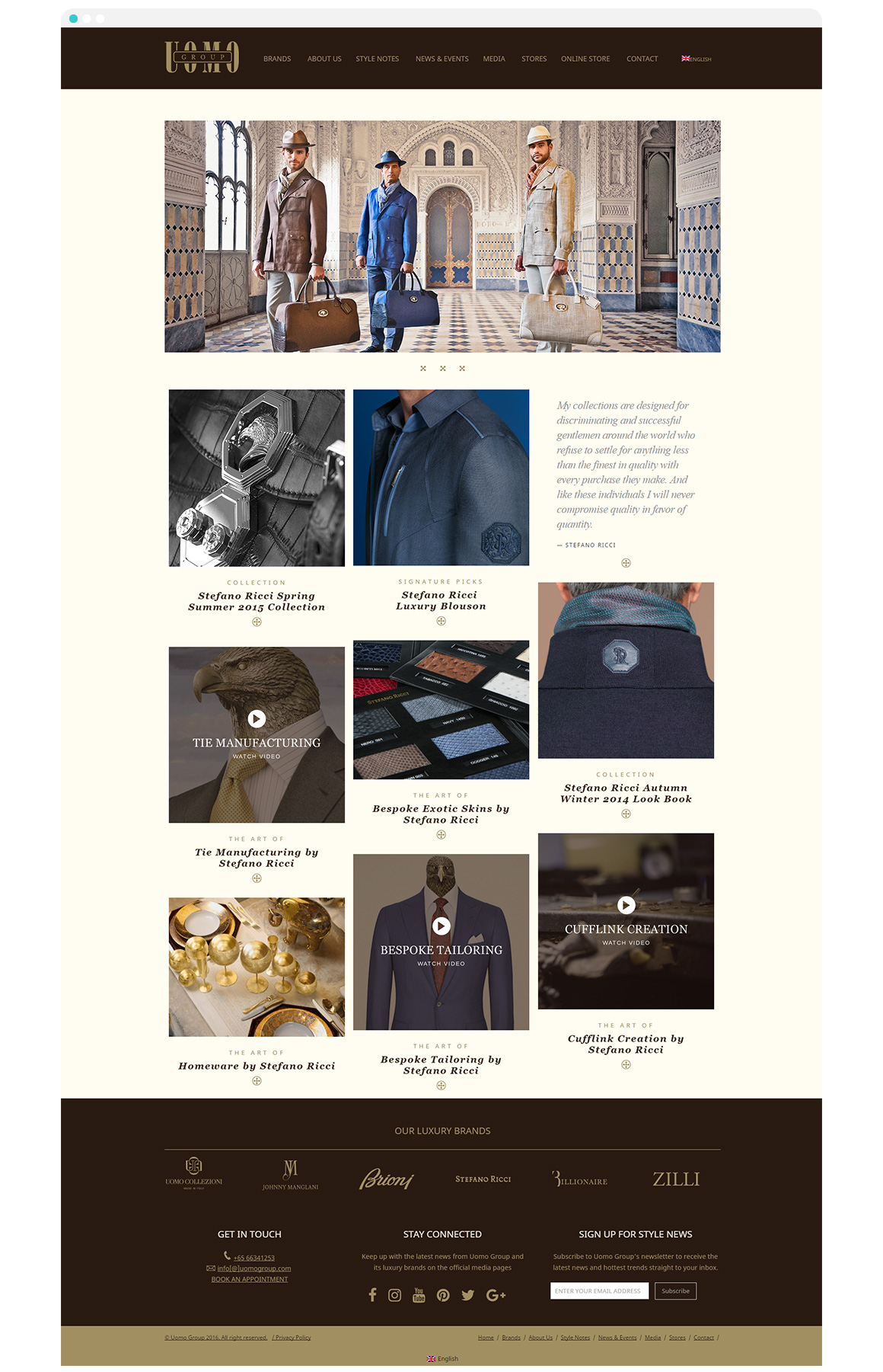 Uomo Group Luxury Menswear Website Design and Development - website screenshot