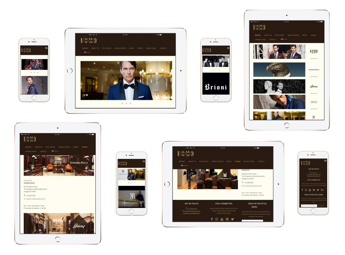 Uomo Group Luxury Menswear Website Design and Development - website screenshot iPhones