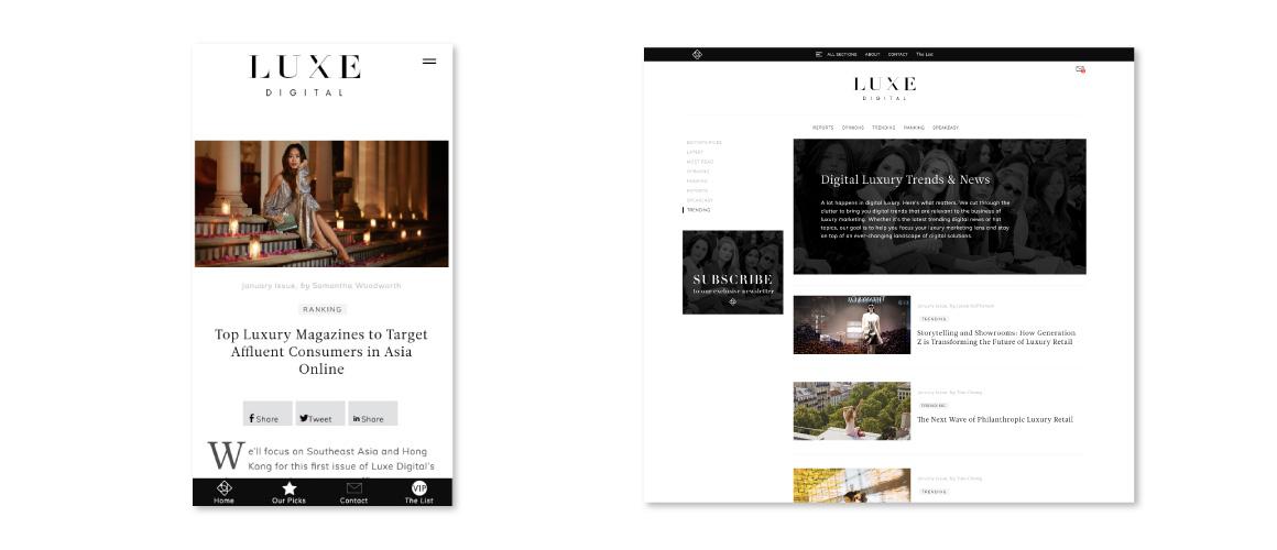 mOOnshot digital marketing agency luxe digital luxury news case study screens