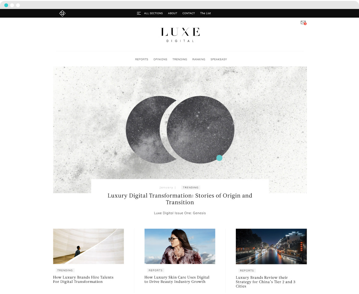 mOOnshot digital marketing agency luxe digital luxury news case study homepage